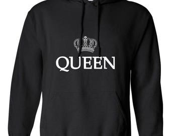 Queen with Crown Women Printed Hoodie Hooded Sweatshirt Designed Girlfriend Wife Gift Couple Goals