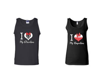 Valentine Gifts I Love My Girlfriend Boyfriend  Disney COUPLE Printed Adult Tank Tops Unisex Tops for Men Women Matching Clothes