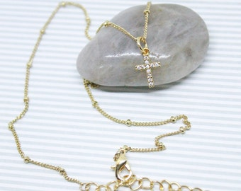 Gold Cubic Zirconia Cross Necklace