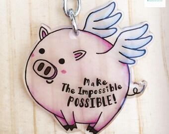 Handmade Flying Pig Keychain