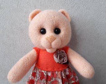 Bear girl in a dress. Original handmade soft sculpture bear.Bear-girl made of wool. Felt toy bear.Gift for the girl. Handmade realistic bear