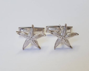 Gift for him Starfish Cufflinks in .925 Sterling Silver