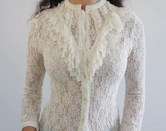 Ivory Sheer Lace Long Sleeve Bib and Ruffle Floral Shirt/ 90's Revival Top/ Victorian/ Edwardian Antique Style/XS/ Slim