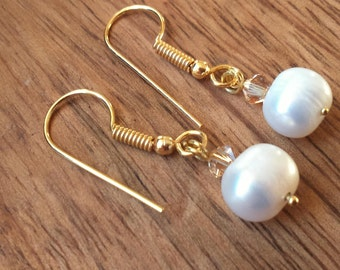 Pearl Earrings, Freshwater Cultured Pearls, Gold Plated, Pearl Drop Earrings, White Pearl Earrings, Pearl Jewellery