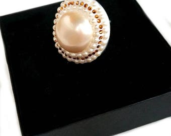personalized ring, ring woman handmade, made in italy, ring made in italy, ring pearl, pearl ring, big ring woman, pearl stone