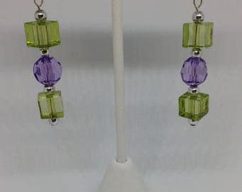 Green/Purple Dangled Earrings