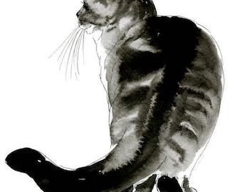 Cat Watercolor Fine Art Print