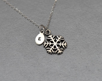 Personalized snowflake necklace Sterling silver Personalised Christmas gift Initial necklace Winter jewelry Winter Wedding necklace Snow