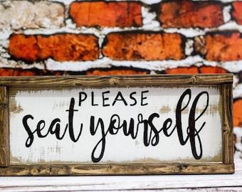 Please Seat Yourself Bathroom Decor Funny Bathroom Art Rustic Bathroom Sign Farmhouse Bathroom Humor Kids Bathroom Decor Bathroom Wood Sign