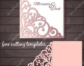 Wedding Invitation Pocket Envelope template for cutting, patterned corner, laser cut. Digital Instant Download, (svg, dxf, eps10, studio3)