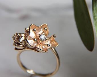 Unique engagement ring, diamond ring, gold flower ring, yellow gold ring, flower engagement ring, proposal ring, romantic, cherry blossom