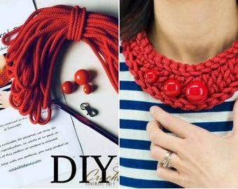 DIY crochet pattern necklace Red rope jewelry kit PDF pattern tutorial Red bead bib DIY jewelry Chunky collar women knitting instruction