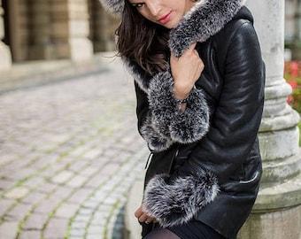 Real LEATHER women jacket with FOX FUR Woman's black sheppskin coat new shearling coat vest warm winter coat luxury gift for women wife