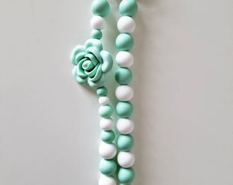Mint Silicone Pacifier Clip/ Silicone Beads/ Silicone Soother Clip/ Paci Clip/ Baby Boy/ Baby Pacifier Holder/ Baby Gift/ Baby Shower