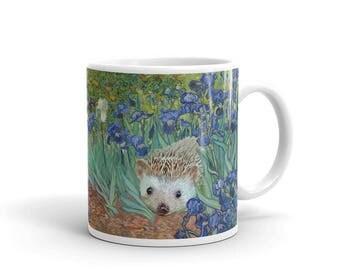 "Vincent van Hog's ""Irises and Also a Hedgehog"" Mug A Princess Pricklepants Design by Urchin Wear"