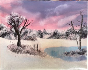 Snowy Sunset Pond