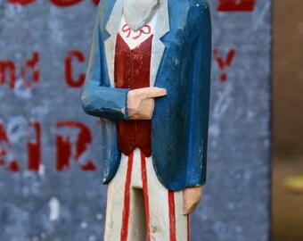 True Blue Uncle Sam Folk Art Wood Carving