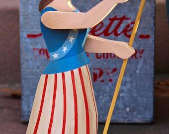 Flag-Waving Lady Liberty – Folk Art Carving