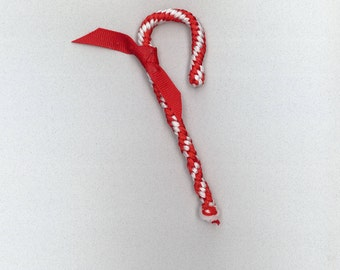 Handmade red and white macrame candy cane by TwistedandKnottyUS