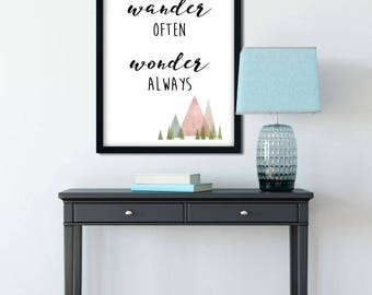 wander often wonder always - typography adventure quote - digital download