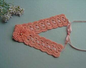 Crochet headband, Coral pink hair accessories, Headband with flower, Headband for girl, Girls hairband