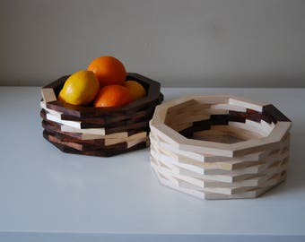 Handmade nonagon fruit bowl