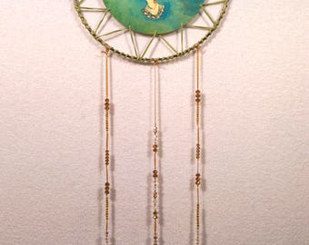 Dove Green Leather Dreamcatcher