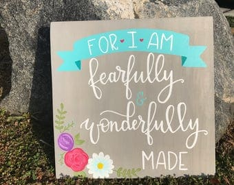 For I am fearfully and wonderfully made/ Psalm 139:14/ Nursery Decor/ Baby shower Gift/