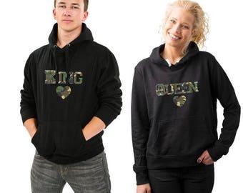King Queen Hoodie King Queen Sweatshirt King Queen Sweater King Queen Hooded Couple Hoodie Couple Sweatshirt Couple Sweater Couple Hooded