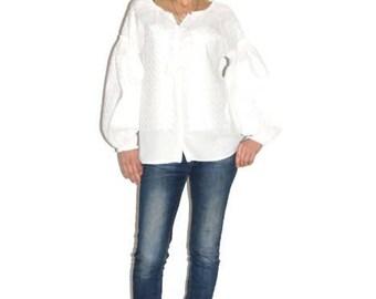 Embroidered blouse Boho Ukrainian Embroidery Vyshyvanka Woman White Linen Folk Style Ukraine Boho Clothing Custom Blouses Bohemian