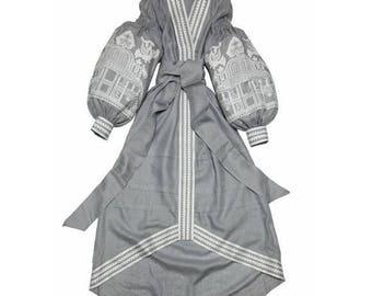 Kaftan Abaya Dress Custom boho Dresses Ukrainian embroidery Bohemian Clothes Vyshyvanka Woman Vishivanka Ukraine Clothes Open in front