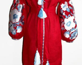 Vyshyvanka Woman Vishivanka Ukrainian Dress Custom Embroidery Boho Dresses Kaftan Abaya Caftan Ethnic Ukraine Bohemian Clothes Red Linen