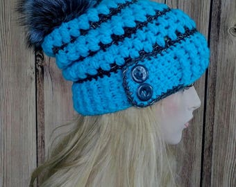 Crochet Hat, Crochet Slouchy Hat, Crochet Slouchy with fur pom, Crochet Slouchy with fur pom, Soleil Button Slouchy Hat