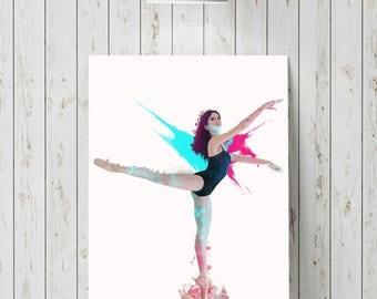 Ballet dancer painting, dancer print, dancer painting, ballerina print, wall art, ballerina painting, gift for ballerina, ballet painting