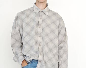 VINTAGE Grey Checked Long Sleeve Button Downs Retro Shirt