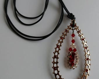 Long necklace, copper and red pendant, drop shape
