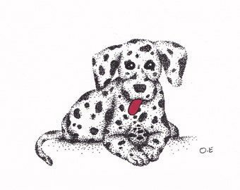 Dalmatian Puppy Curled Up (A5 Print)