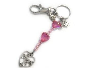 sweet 16 keyring, sweet 16 keychain, sweet 16 favors, sweet 16 gift, sweet sixteen gift, 16th birthday gift, 16th keyring, beaded keyring,