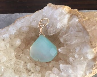 28mm Chalcedony wire wrapped necklace drop, necklace add on, gold fill, dangle, wire wrapped Drop, gold fill, green pendant, green stone