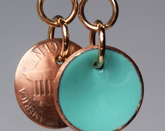 Enameled Penny Earrings-Sea Foam Green