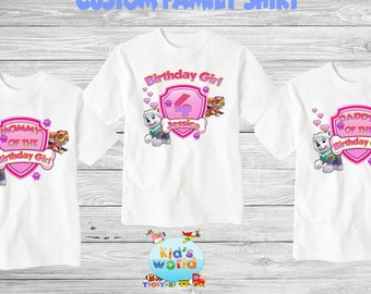 Paw Patrol Family birthday shirt, Custom shirt ,personalized paw patrol Shirt , family shirt,birthday shirt,kids custom birthday shirt d1