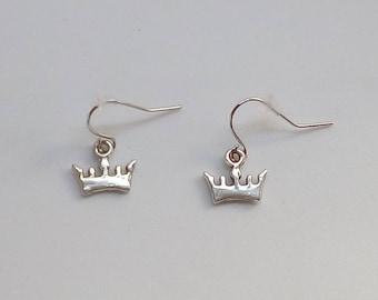 Handmade Antique Silver Plated Crown/Tiara Earrings.