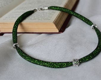 Green Shiny Necklace, Mesh Necklace, Green Necklace, Bead Necklace