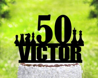 Chess Cake Topper,Chess birthday Cake Topper,Chess party, 50 Cake Topper,Personalised Cake Topper,Cake Topper Decoration (2080)