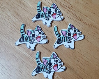Cute Kawaii Wooden Cat Buttons - Pack of 4