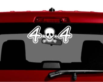 4x4 car decal, car sticker, white