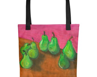 Pears on a Table - Amazingly beautiful full color tote bag with black handle featuring children's donated artwork.