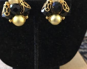 Vintage Black and White Clip Earrings