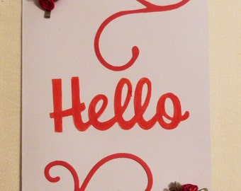 Handmade Greeting Card,  5x7 hello Greeting Cards, Red Roses Greeting Card, Friend Greeting Card, Made in the USA, #51