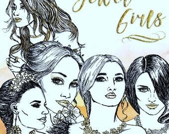 Jewel Girls Clip Art | Hand Drawn Graphics | Illlustration, Digital Cliparts | Girl Clip Art | Watercolour Clip Art | Jewels